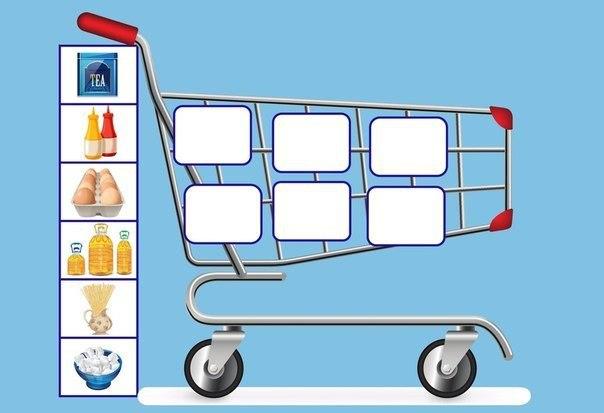 ДИДАКТИЧЕСКАЯ ИГРА: СУПЕРМАРКЕТ Лексическая тема Продукты питания.Семь тележек - «игровых поля». На них изображены группы продуктов питания (в каждой тележке - по шесть продуктов одной