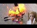 Эксперимент давим машиной игрушки предметы - ГОРЯЩАЯ кукла Барби Car tire fire crush Barbie doll