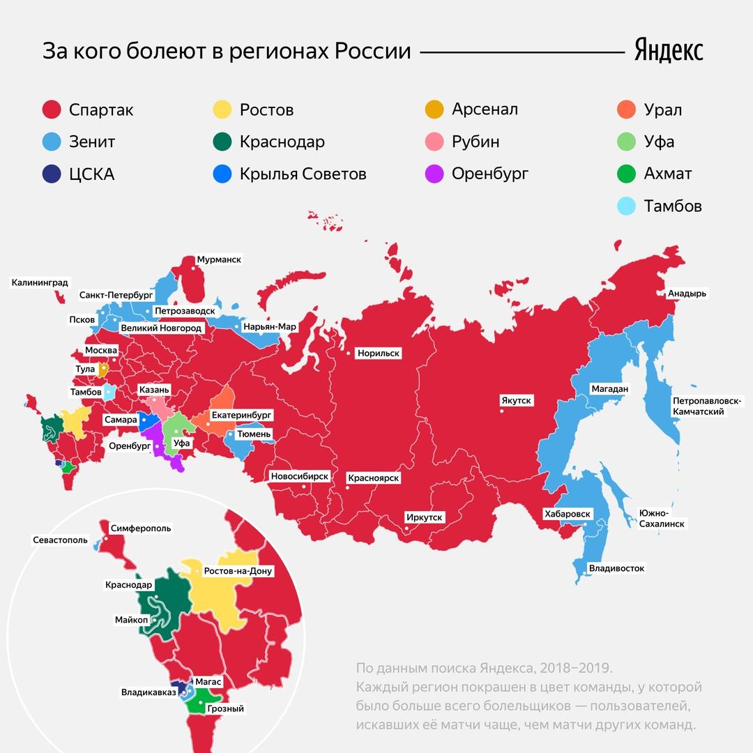 За какой футбольный клуб болеют в регионах России
