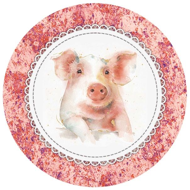 День, новогодние круглые картинки со свинкой