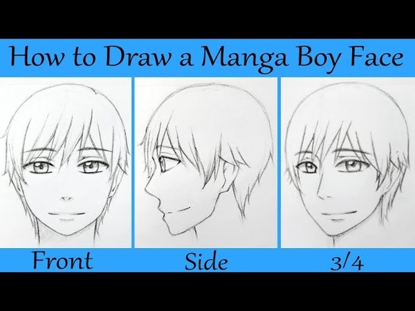 How to Draw a Manga Male Face in Front Side and 3 4 View