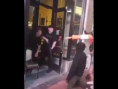 Italians with weapons protect their restaurant from protesters and looters