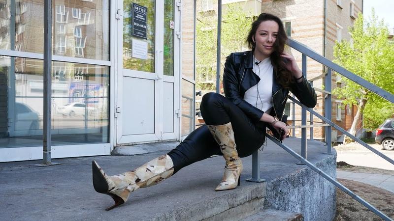 Elena's Gianmarco Lorenzi pointed toe stiletto high heels multi leather boots Size 40 US 9 5