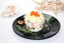 Салат с крабовыми палочками, креветками и мидиями