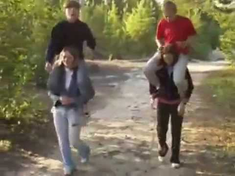 Russian Teen Lift and Carry Fun on Shoulders