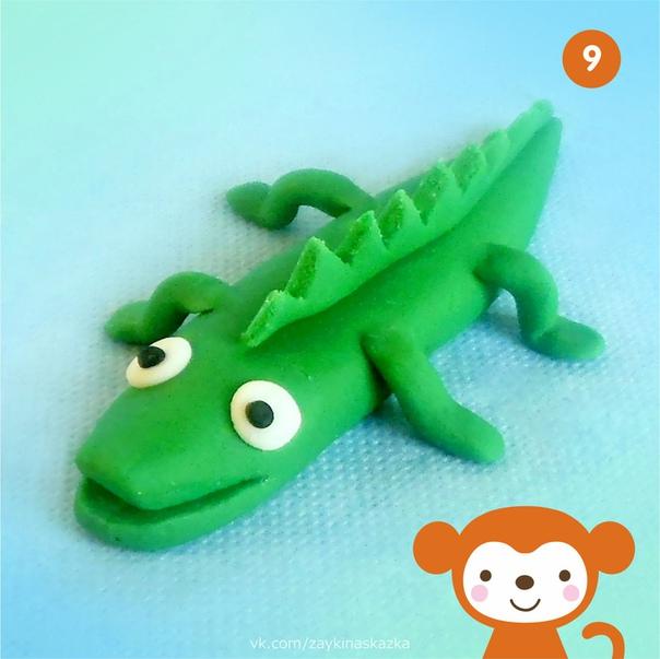КРОКОДИЛ ИЗ ПЛАСТИЛИНА На мели в воде речнойНос, поднявши над водой,Длинный, важный крокодилВперевалочку ходил.В.
