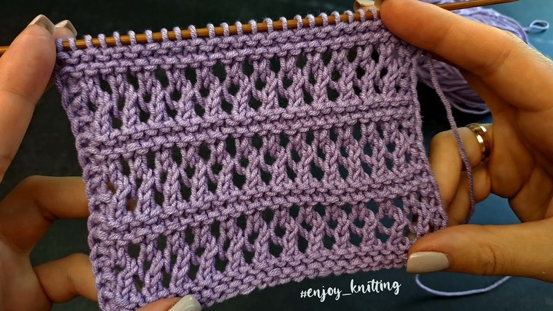 ПРОСТОЙ Ажурный узор спицами How to Knit Lace stitch pattern