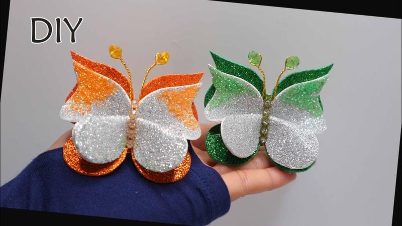 DIY How to make butterfly from glitter foam sheet Membuat kupu busa glitter Eva foam