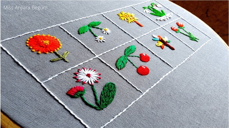 8 Beautiful flowers and fruits Hand Embroidery video Secrets of Embroidery 16 Embroidery Miss A