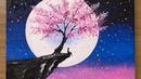 Cherry Blossom under Moonlight Acrylic Painting Technique 459