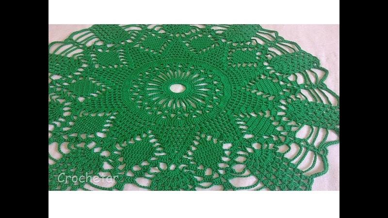 Toalha Pinhas Verdes Natal crochê - Professora Maria Rita