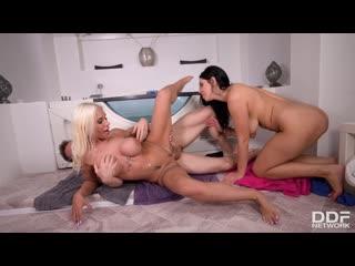 Kira Queen, Kyra Hot - Big Titty Besties Share One Cock порно porno
