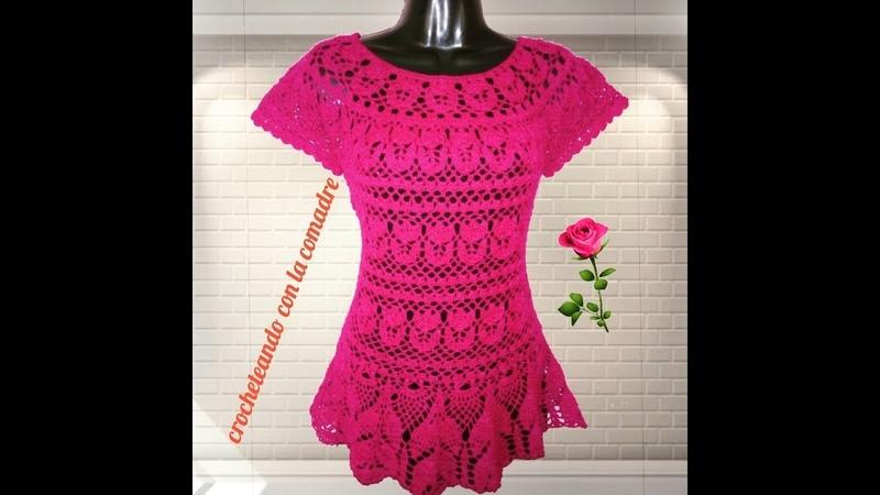 Tutorial blusa puntada tulipanes 1a parte (Crocheteando con la Comadre)