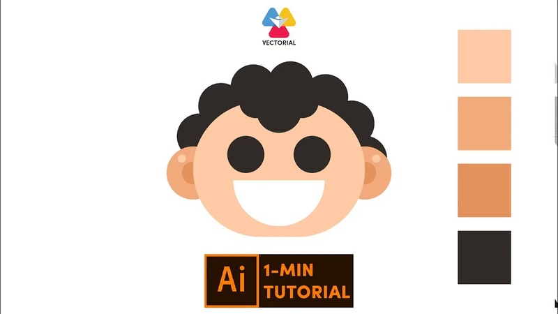 Flat character tutorial in Adobe Illustrator 1 minute tutorial for beginner