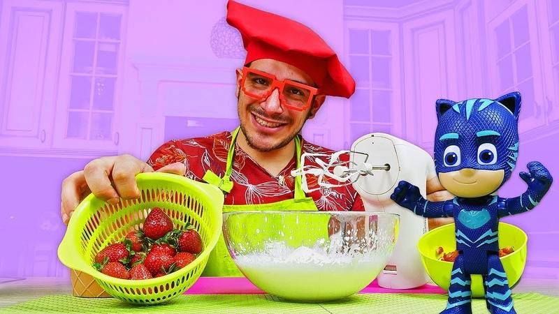 Fresas con crema para los PJ Masks. Cocina para niños recetas faciles. Vídeos para niños.