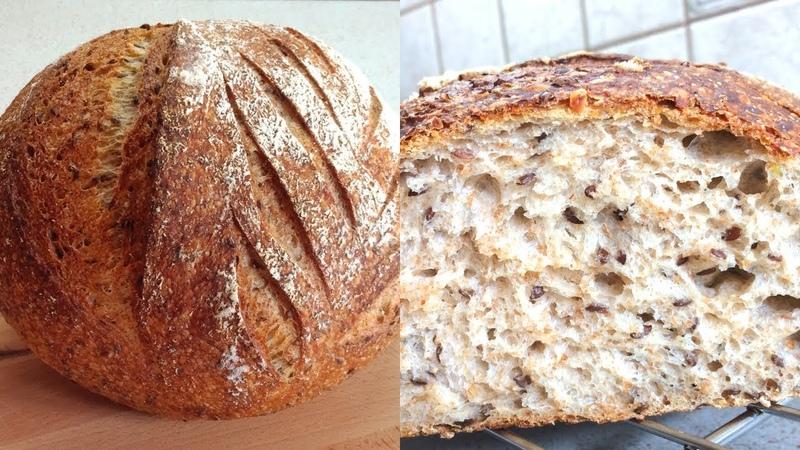 🔴 Бездрожжевой хлеб на закваске с семенами льна