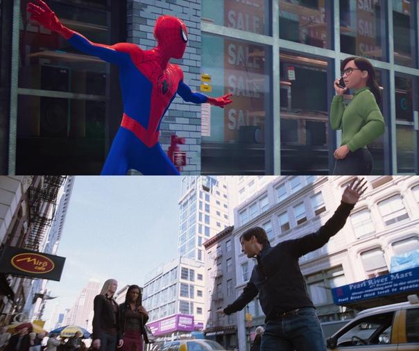 После просмотра «Через вселенные» некоторые всерьез подумали, что Человек-паук из опенинга  версия Тоби Магуайра. Тем не менее, это совсем не так, потому что начало целиком состоит из отсылок ко ВСЕМ интерпретациям героя. И самое интересное, что подобные