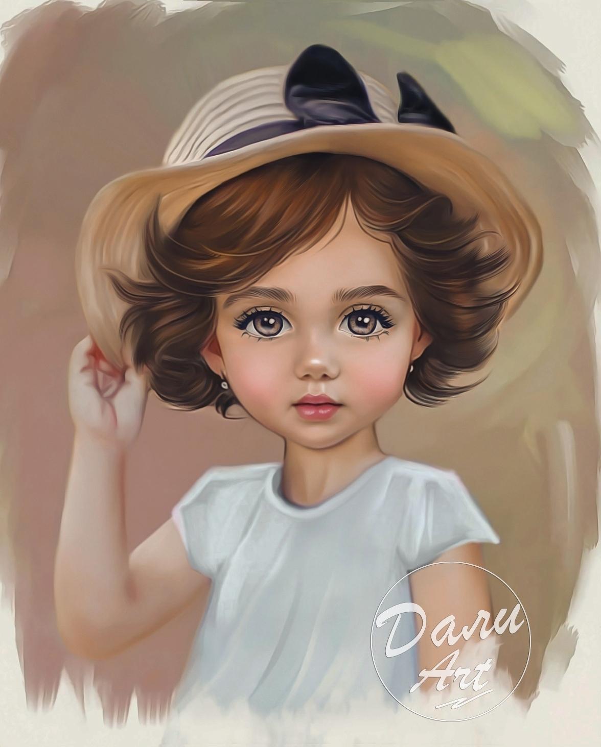 Российская художница превращает детские фотографии в очаровательные мультяшные п - Фото