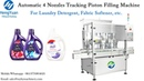 Automatic Liquid Detergent Filling Machine | 4 Nozzles Tracking 1-5 Liters Piston Filling Machine