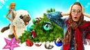 Кукла Барби и Баба Маня наряжают елку на Новый Год. Котенок Барби устроил погром! Видео про игрушки