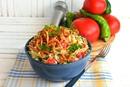 Салат с овощами и яичными блинчиками