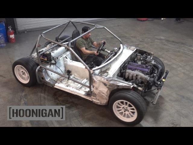 [HOONIGAN] DT 190: $200 Miata Kart Build [Part 6] - Cage Build and Indoor Donuts