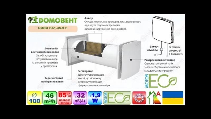 Рекуператор ДОМОВЕНТ СОЛО - обзор приточно-вытяжного проветривателя
