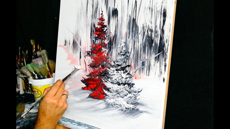 Red Pine Tree - abstract painting by Dranitsin