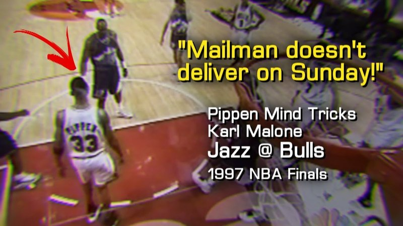 Scottie Pippen Whispers Karl Malone's Ear: Mailman doesn't deliver on Sunday! (1997 NBA Finals G1)