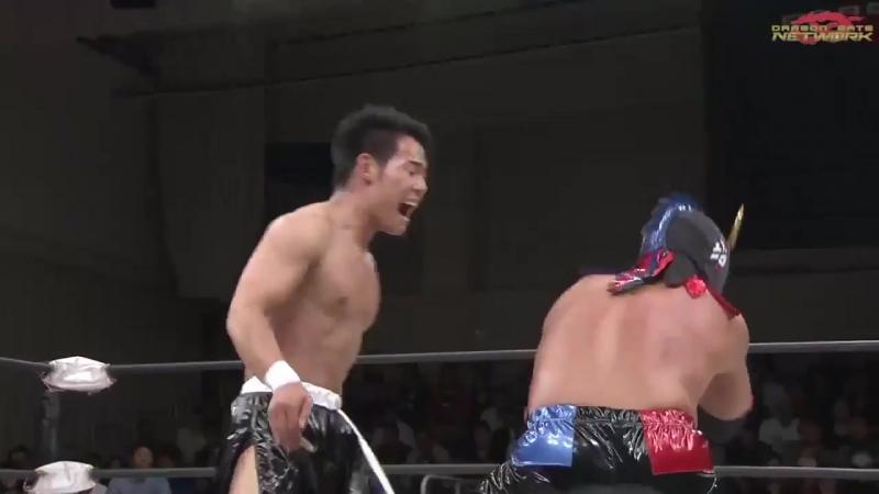 Masaaki Mochizuki, K-ness, U-T vs. Shun Skywalker, Yuki Yoshioka, Oji Shiiba (Dragon Gate - King of Gate 2018 - Day 1)
