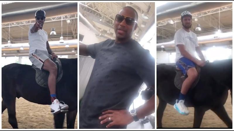 Carmelo Anthony goes horseback ridding in Qatar with Klay Thompson Tracy McGrady
