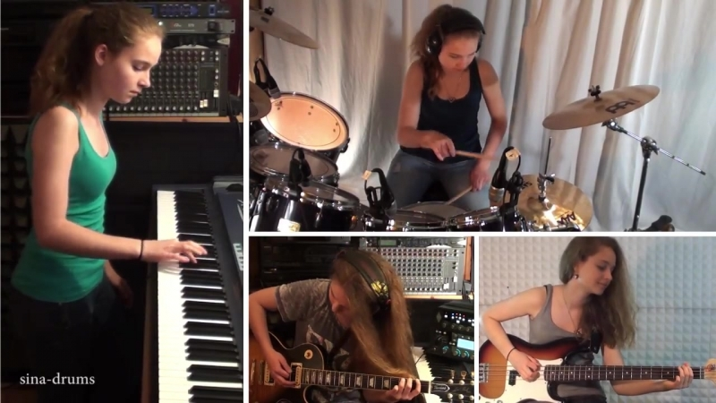 Van Halen Right Now piano drum guitar bass cover by Sina
