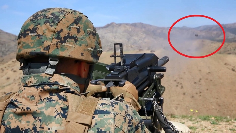 US Marines Firing The Powerful M2 Machine Gun MK 19 Grenade Launcher