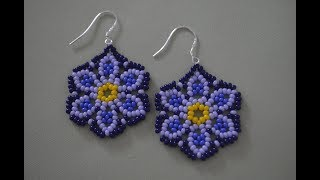 🌸 Earrings in the technique of Huichol. Beading. Master Class
