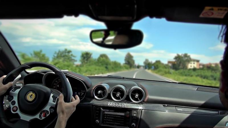On-board V12 Ferrari FF full throttle, loud downshifts and revs!