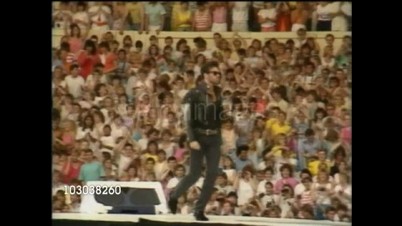 June 28, 1986 British duo Wham! (George Michael and Andrew Ridgeley) perform their last concert before 85,000 fans at Wembley St