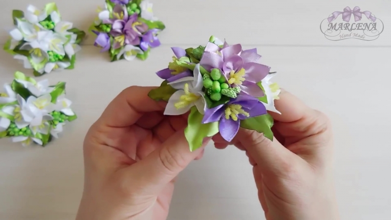 Весенние резиночки 🌼 Жасмин из лент Канзаши МКDIY
