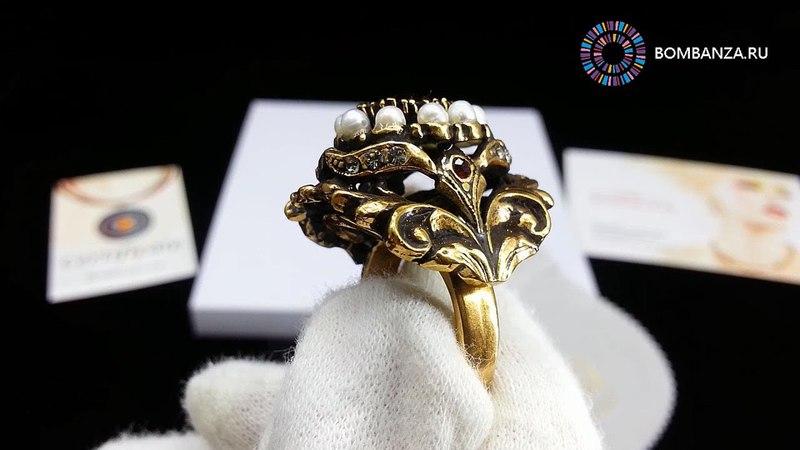Кольцо Maurizio Mori с жемчугом, гранатом и кристаллами. Премиум бижутерия их Италии, Флоренция