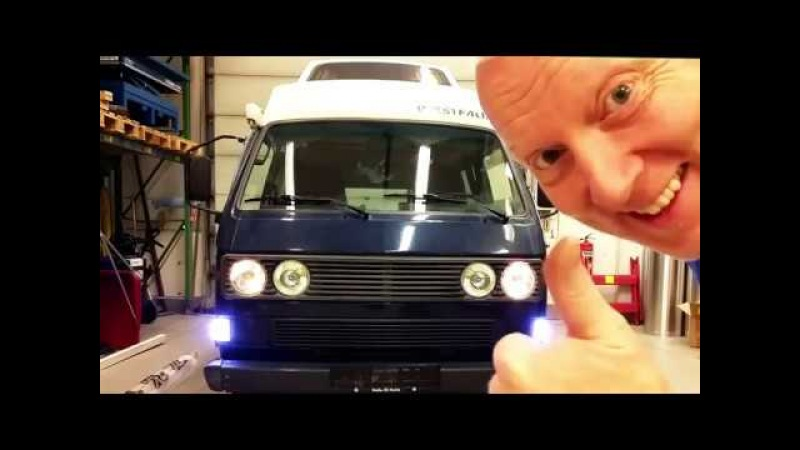 VW Vanagon T3 T25 with LED switchback indicators driving lights