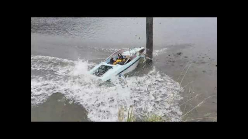 Man destroys boat crashing into wooden post at high speed