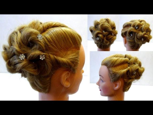 Свадебная прическа на средние волосы. Прическа на выпускной. Wedding hairstyle.Peinados