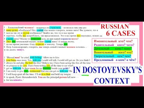 ALL 6 NOUN CASES DISCUSSED IN DOSTOYEVSKYS CONTEXT RUSSIAN GRAMMAR AND VOCABULARY