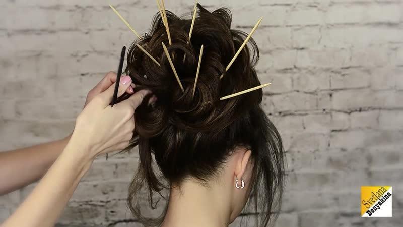 Высокий пучок на тонкие и редкие волосы