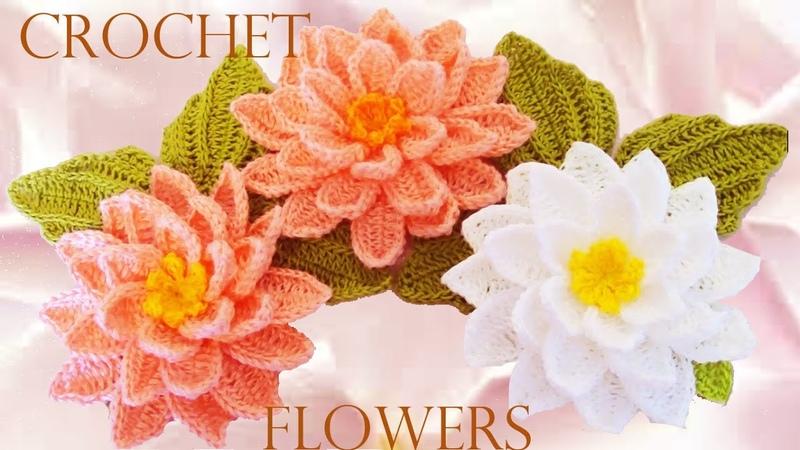 Como tejer flores fácil y rápido en una sola tira con hojas How to make knitting crochet flowers