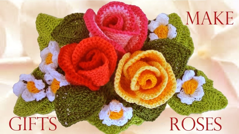 Como tejer rosas a crochet Make easy Knitting beautiful bouquets of roses