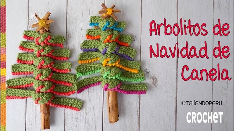 Arbolito de Navidad con ramita de CANELA tejido a crochet 🎄 Tejiendo Perú