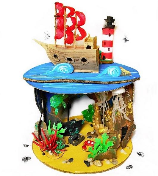 МОРСКИЕ ПОДЕЛКИ ДЛЯ ДЕТЕЙ Необычная поделка на морскую тему для детей. Для создания нам потребовалось:Море-Дно: картон, гуашь, горячий клей.Кораллы: картонка, веточки от деревьев на горячий