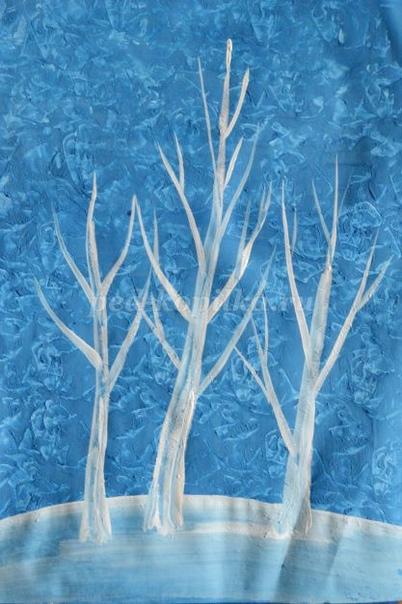 Иней. Рисование зимнего пейзажа в нетрадиционной технике Материалы: - гуашь; - кисти белка 3, 5; - лист формата А4); - листы бумаги. Автор: Надеенская Елена