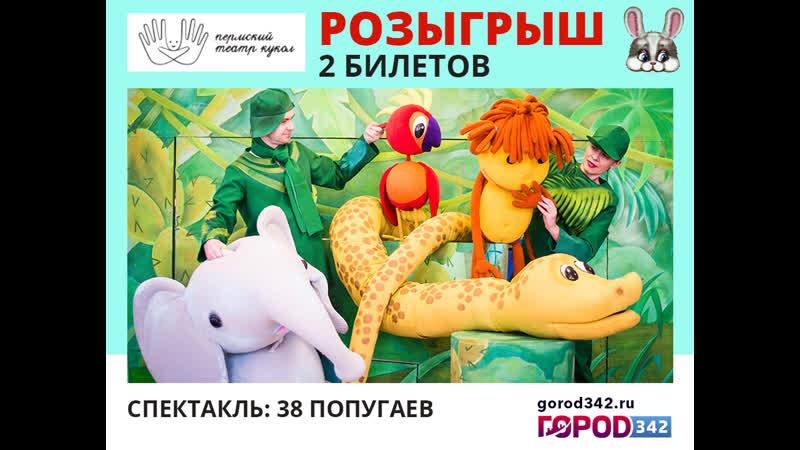 Розыгрыш 2 билетов в Театр кукол 38 попугаев 15.11.2019 г