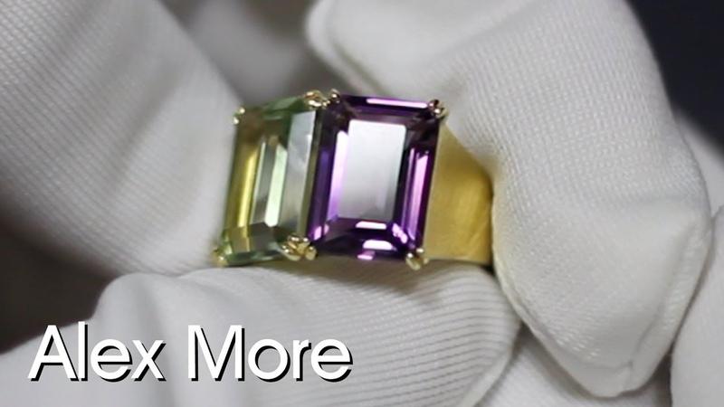 Кольцо с аметистом и празиолитом Желтое золото 750 проба | Alex More